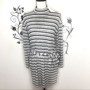 Topshop mock neck sweater dress gray stripes 4